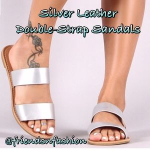 Matte Silver Vegan Leather Sandals! NEW!